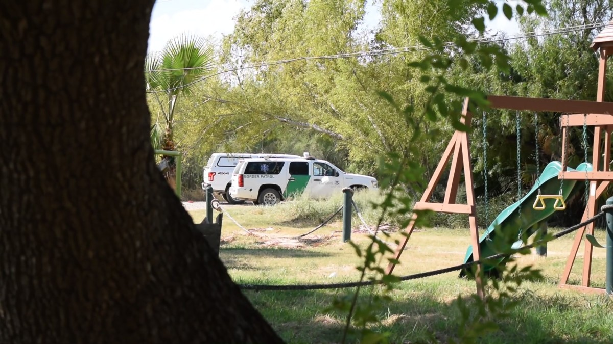 A Customs and Border Protection SUV on Cavazos' property.