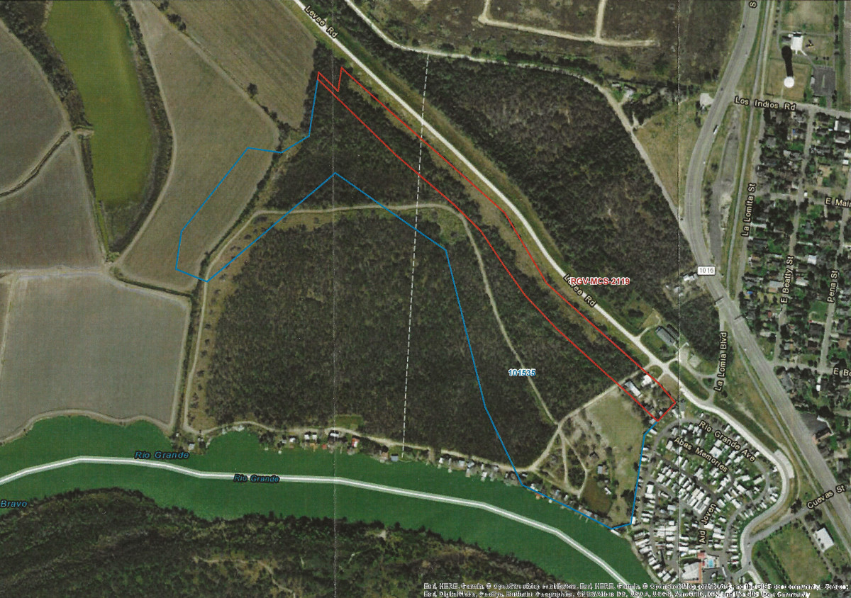 The map Fred Cavazos received from CBP depicting their proposal to build through his riverside property. The wall's projected construction zone (shown in red) runs along an existing levee and through the north end of Cavazos' property. The blue line beneath it represents the area CBP has requested for surveying. If granted access to the property, CBP can clear any natural impediments (such as trees and bushes) it deems necessary for surveying purposes.