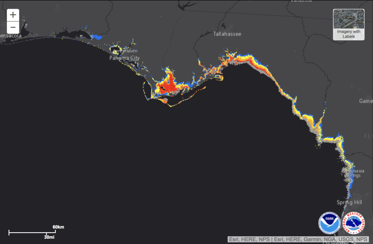 Show Map Of Florida Panhandle.This Map Shows The Areas Most Vulnerable To Storm Surges From