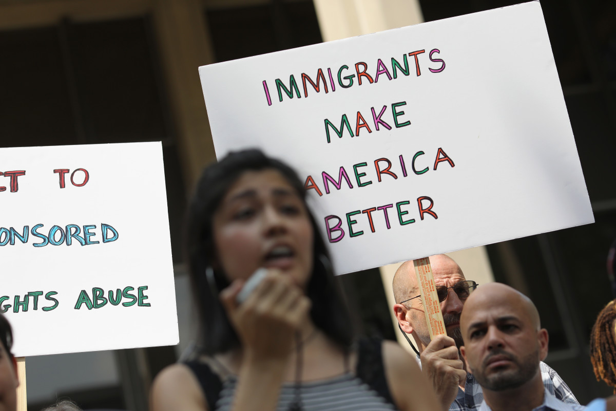 People protest President Donald Trump's immigration policies in front of a federal courthouse in Bridgeport, Connecticut, on July 11th, 2018.