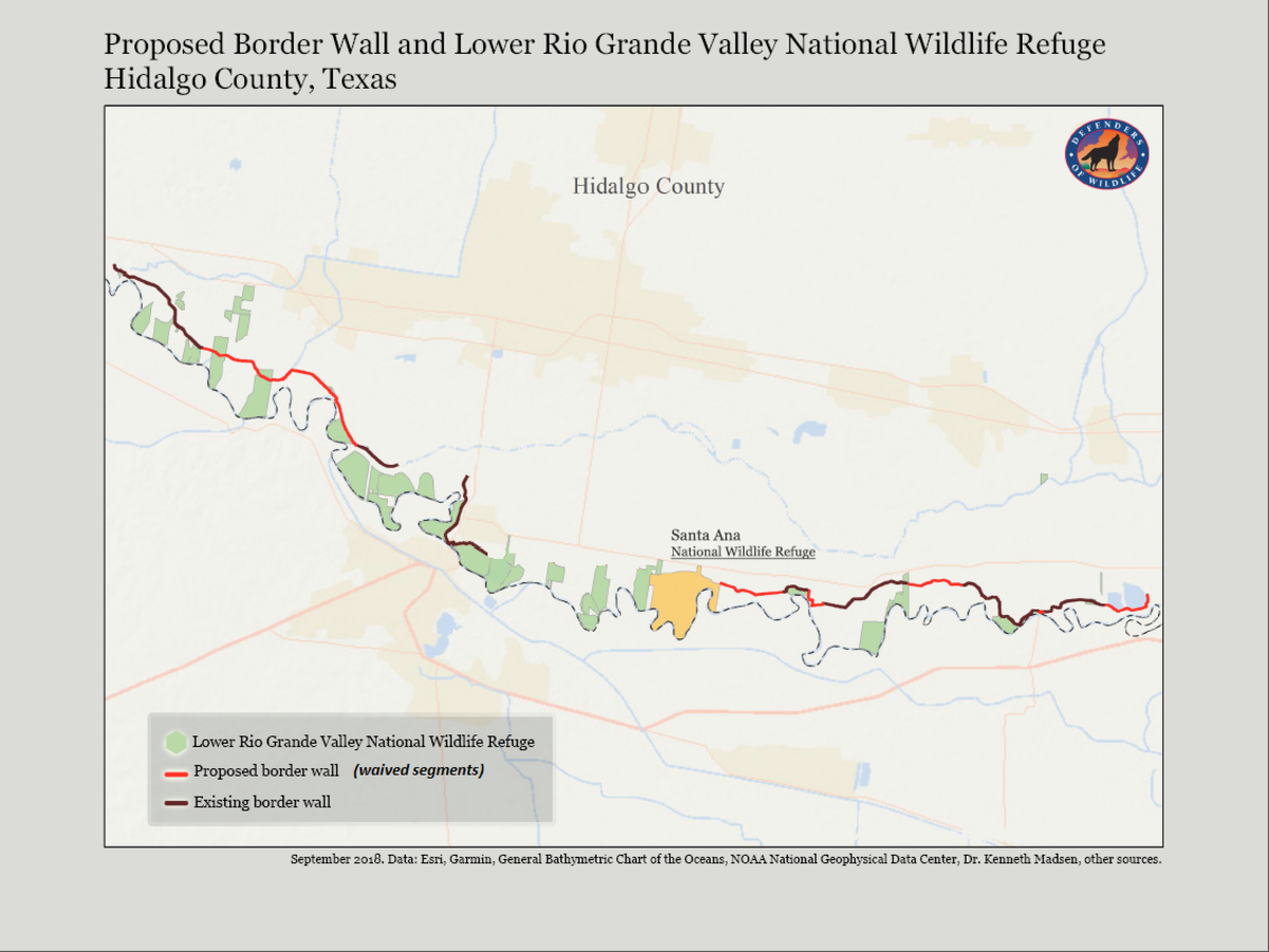 A map of the areas in Hidalgo County where a border wall will be built, which the Department of Homeland Security provided after invoking its environmental waivers for constructing a barrier. This waiver nullifies all laws that protect air, water, endangered species, and religious/historical sites.