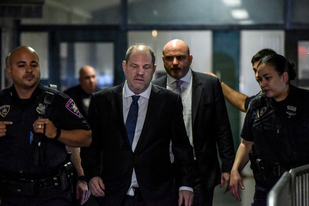Harvey Weinstein arrives at the New York State Supreme Court on October 11th, 2018, in New York City, a year after the sexual assault and harassment charges against him broke in the New York Times and the New Yorker. Weinstein faces five criminal charges and a maximum sentence of life in prison.