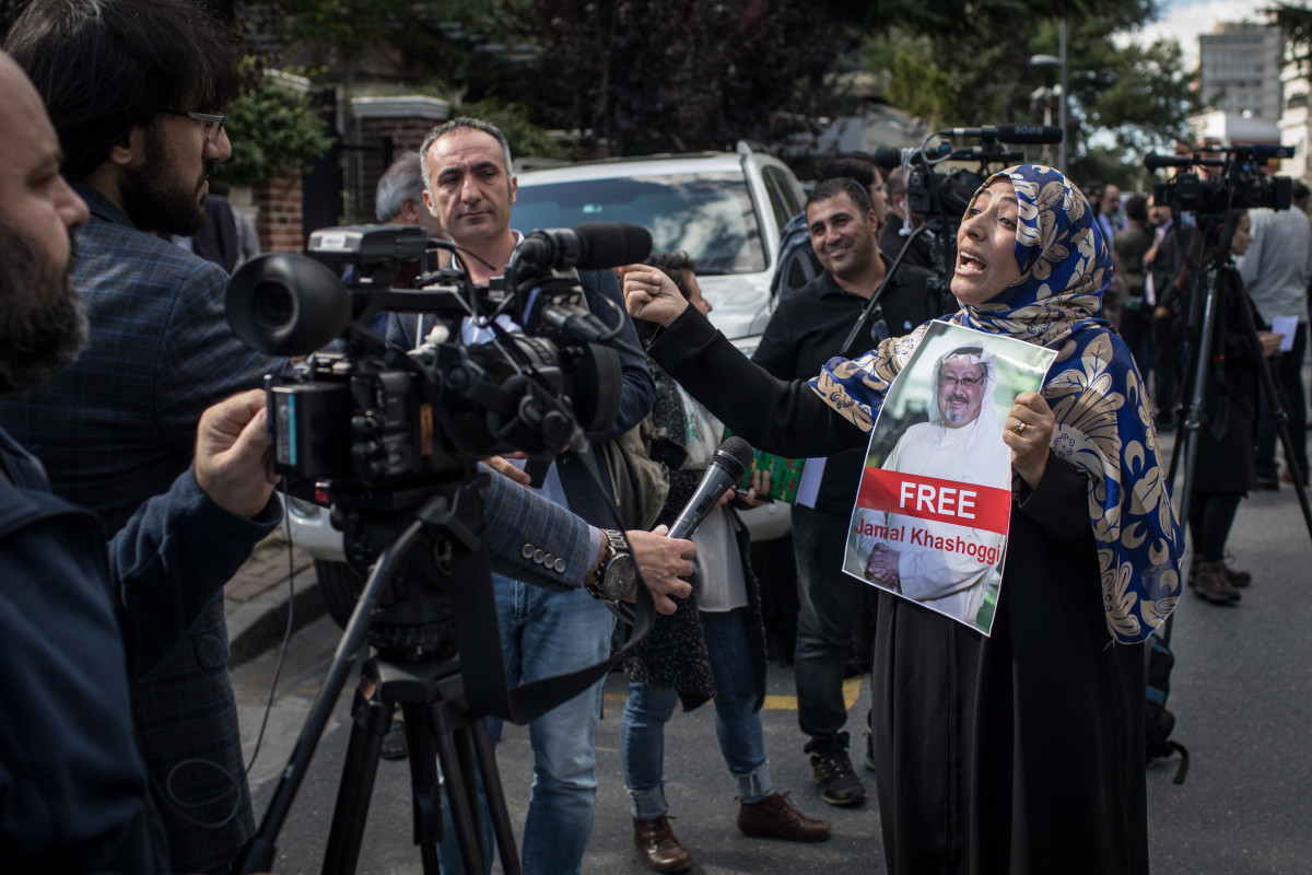 Nobel Prize winner Tawakkol Karman holds a poster of Khashoggi while speaking to the media during a protest outside the entrance to the Consulate of Saudi Arabia on October 5th, 2018, in Istanbul, Turkey. At the time, some believed that the writer was still inside and being held by Saudi officials.