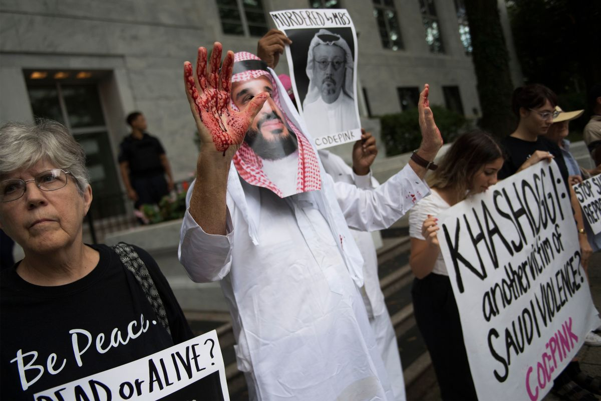 "A demonstrator dressed as Saudi Arabian Crown Prince Mohammed bin Salman with blood on his hands protests outside the Saudi Embassy in Washington, D.C., on October 8th, 2018, demanding justice for missing Saudi journalist Jamal Khashoggi. U.S. President Donald Trump said on October 10th that he has talked to Saudi authorities ""at the highest level"" to demand answers about what happened to missing journalist Jamal Khashoggi. Trump told reporters at the White House that he talked to the Saudi leadership ""more than once"" since Khashoggi, a U.S. resident and Washington Post contributor, vanished on October 2nd after entering the Saudi consulate in Istanbul."