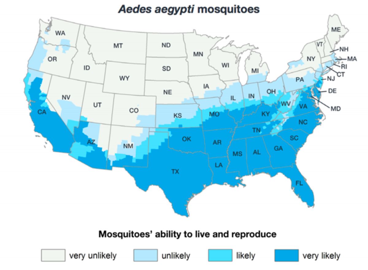 A map of the Center for Disease Control and Prevention's best estimate of the potential range of the Aedes aegypti mosquito, as of 2017. They do not, however, show risk of the spread of diseases.