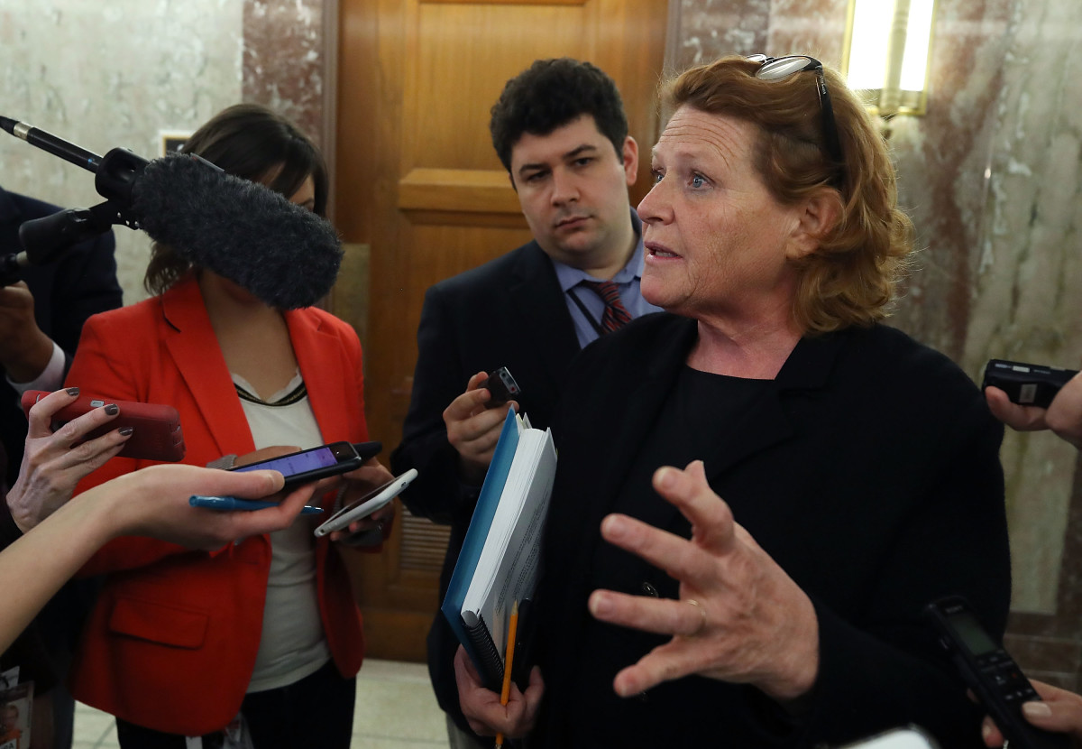Senator Heidi Heitkamp speaks to reporters on January 25th, 2018, in Washington, D.C.