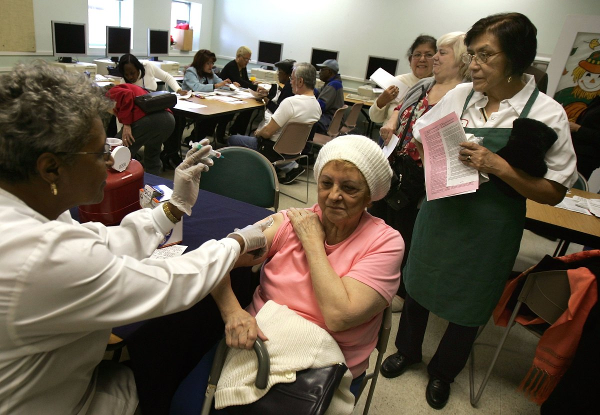 A woman receives a flu shot in Chicago, Illinois.