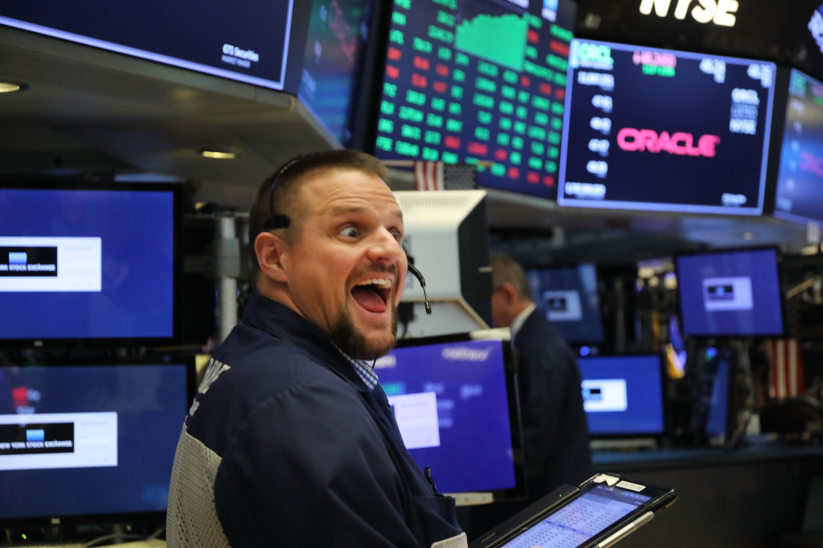 A floor trader at the New York Stock Exchange on October 16th, 2018.