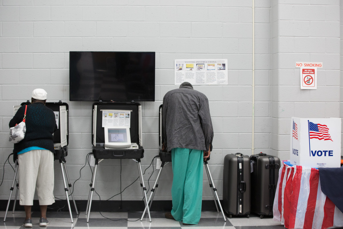 Voters cast ballots during the early voting period at C.T. Martin Natatorium and Recreation Center on October 18th, 2018, in Atlanta, Georgia.