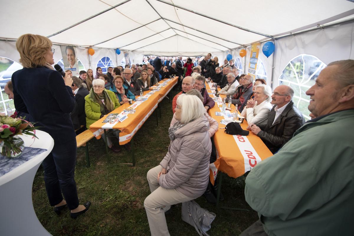 CDU Hesse Chairwoman Julia Kloeckner speaks during an election campaign stop of the Hesse CDU on October 22nd, 2018, in Heuchelheim, Germany.