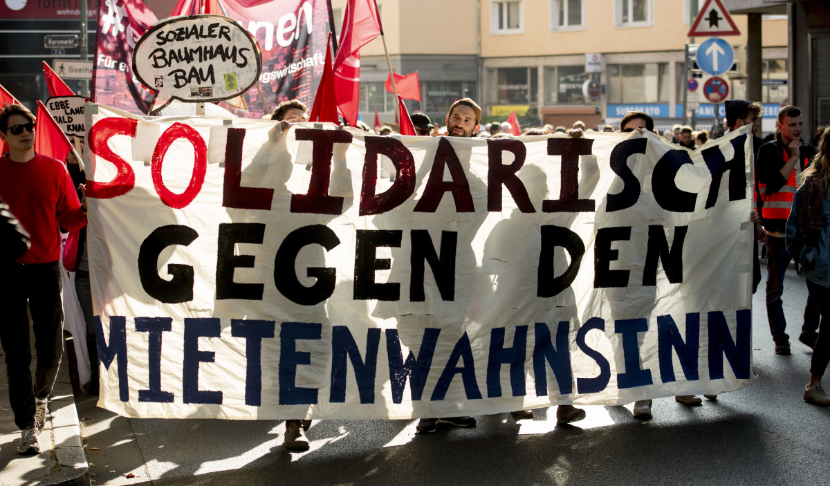 Protesters demonstrate against rising housing rental prices on October 20th, 2018, in Frankfurt, Germany. Frankfurt, the largest city in Hesse, has a housing market that is being squeezed by foreign investors.