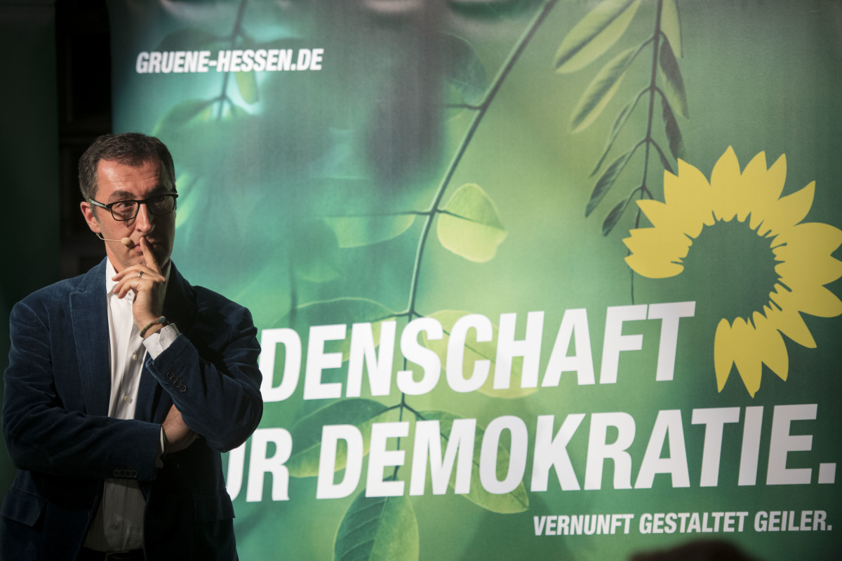 Federal Green Party leading member Cem Oezdemir attends a campaign rally on October 22nd, 2018, in Offenbach, Germany. The Green Party could make major gains in the election, but things look similarly promising for the right-wing Alternative for Germany (AfD).