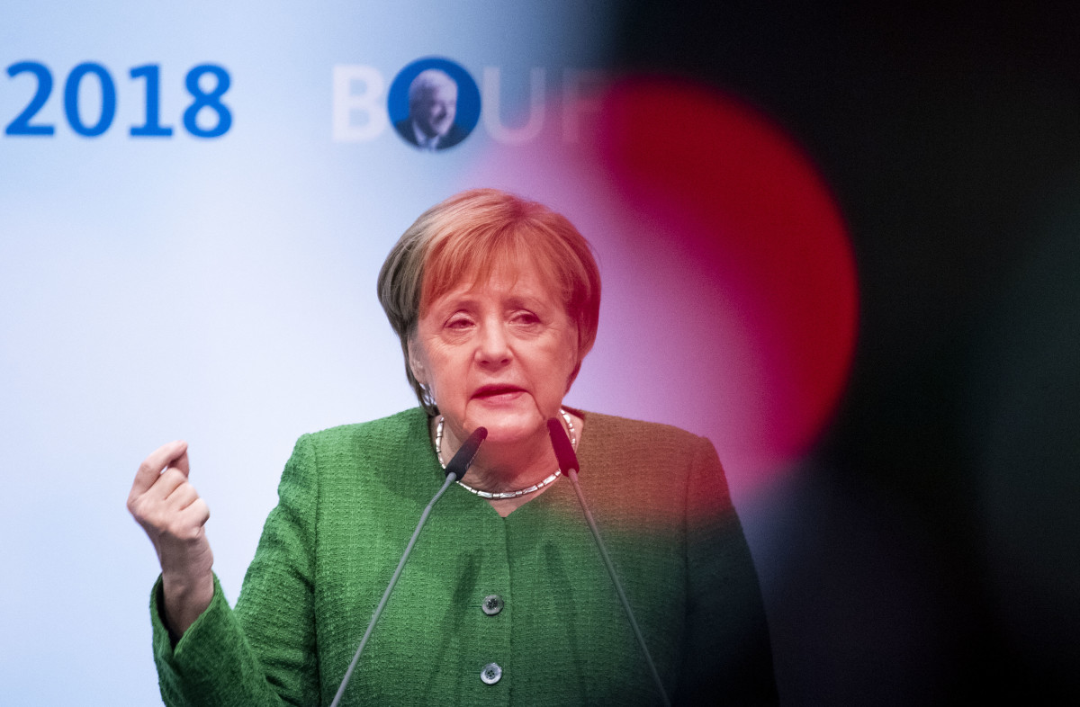 German Chancellor and leader of the German Christian Democrats (CDU) Angela Merkel speaks at a CDU Hesse state election rally on October 25th, 2018, in Fulda, Germany. Hesse is scheduled to hold state elections on October 28th, and so far polls indicate the CDU, Merkel's party, and the German Social Democrats (SPD) will fare poorly, while both the German Green Party and the right-wing Alternative for Germany (AfD) can expect strong gains.