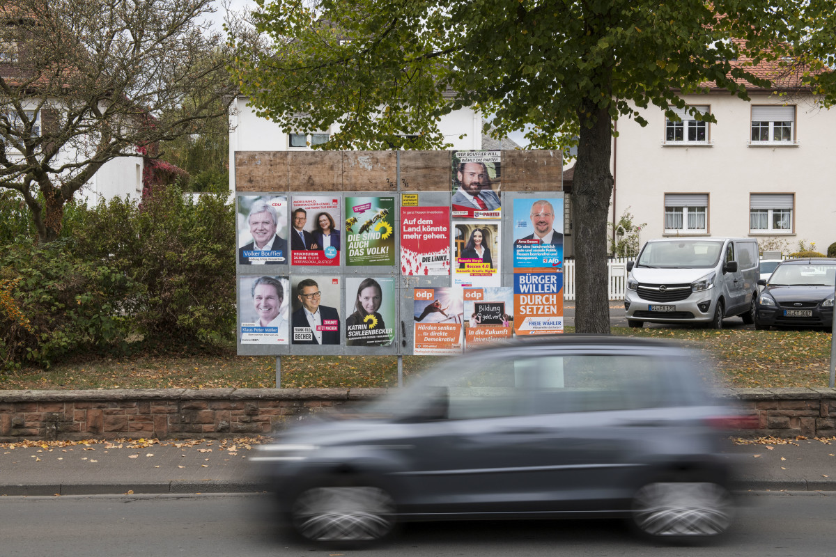 Election billboards show candidates in the Hesse state elections like Volker Bouffier, leader of the German Christian Democrats (CDU), and Thorsten Schaefer-Guembel, leader of the German Social Democrats (SPD), pictured on October 22nd, 2018, in Heuchelheim, Germany.