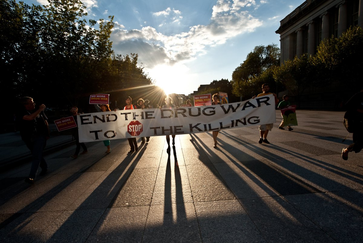 Protesters carry a sign near the White House in Washington on September 10th, 2012.