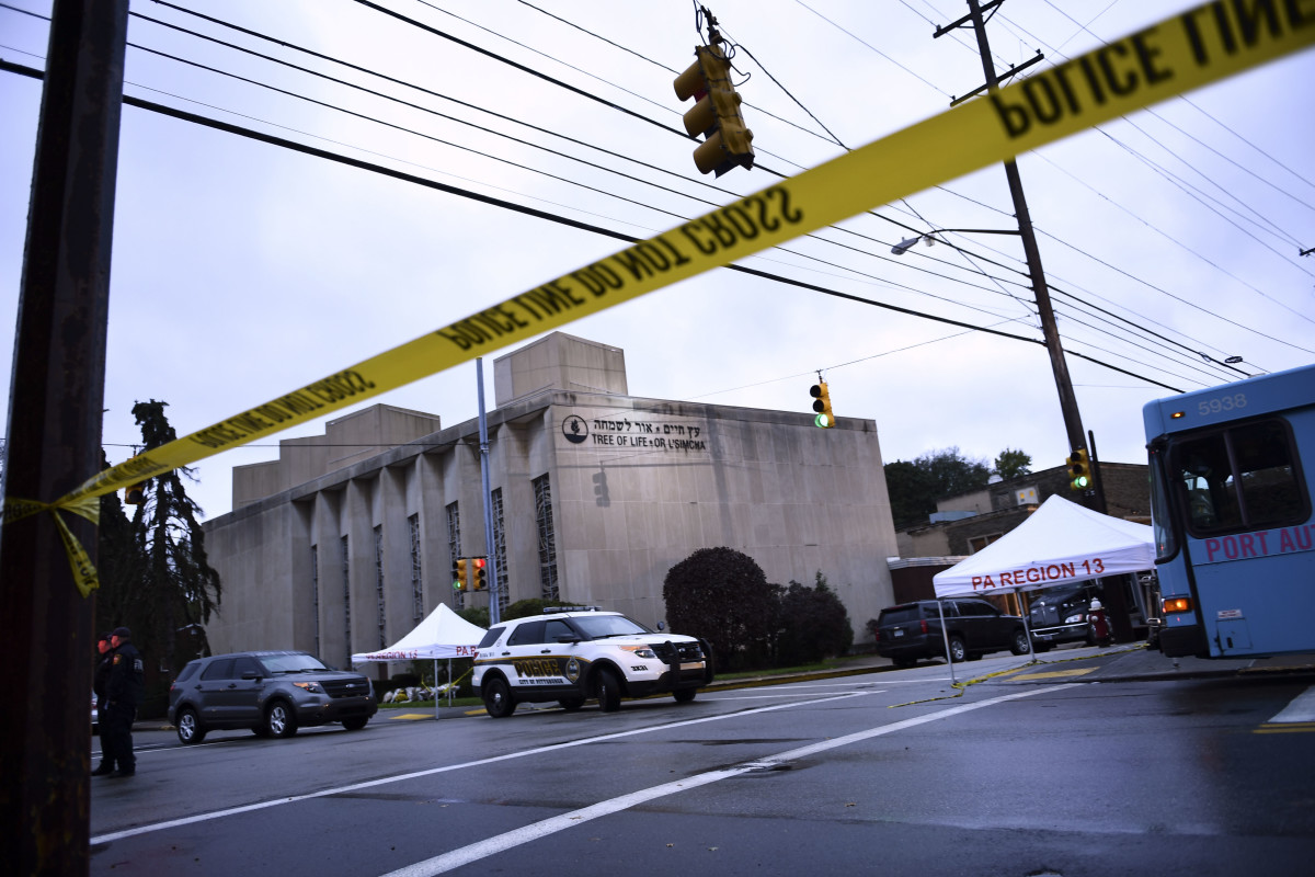 Police tape is seen outside Pittsburgh's Tree of Life Synagogue on October 28th, 2018, after a shooting there left 11 people dead.