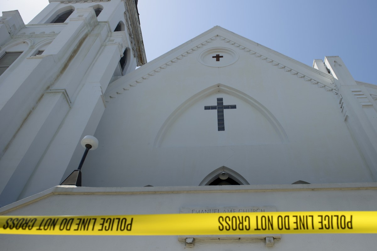 Police tape outside the Emanuel AME Church the morning after a mass shooting at the Emanuel AME Church in Charleston, South Carolina, on June 18th, 2015.