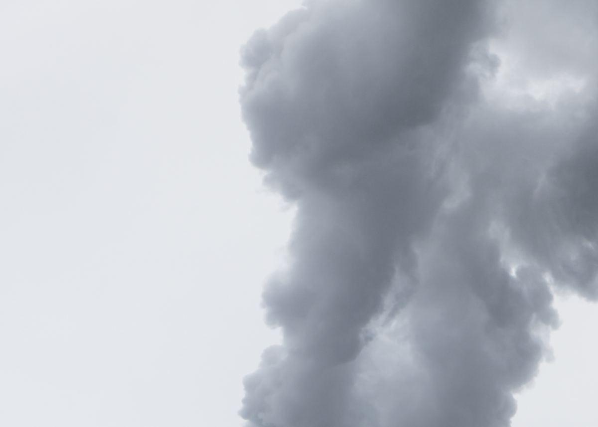 Smoke from incinerator