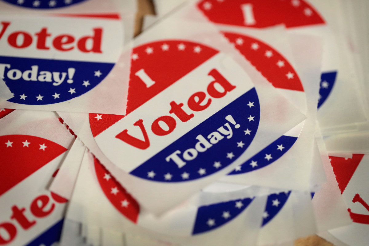 Stickers are made available to voters who cast a ballot in the mid-term elections at the Polk County Election Office on October 8th, 2018, in Des Moines, Iowa.