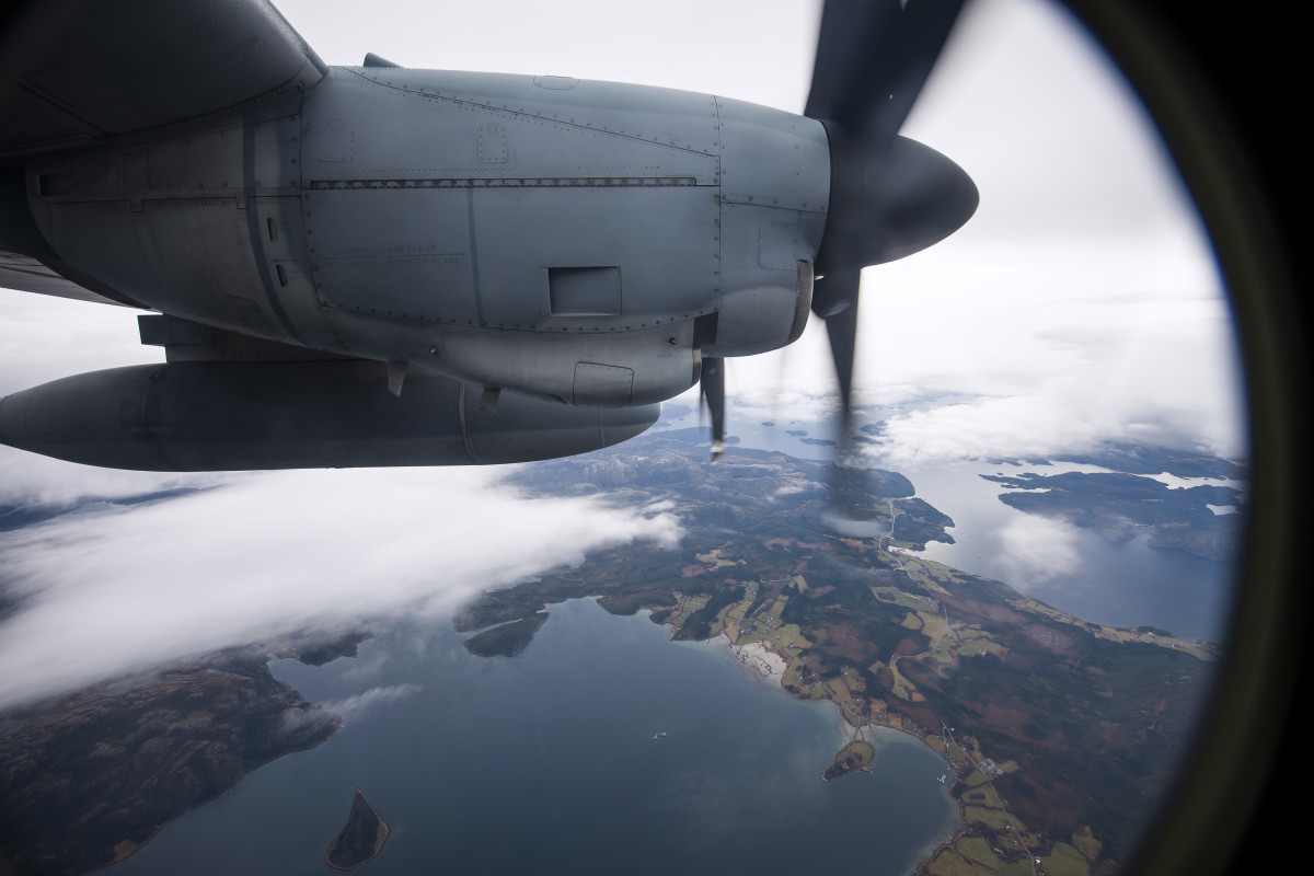 A picture taken from a United States Marines C-130 transport aircraft shows the area near Brekstad, Norway, during the North Atlantic Treaty Organization's Trident Juncture 2018 exercise on October 31st, 2018. Trident Juncture is a NATO-led military exercise being held in Norway from October 25th to November 7th. It's the largest of its kind in Norway since the 1980s—around 50,000 participants from NATO and partner countries, some 250 aircraft, 65 ships, and up to 10,000 vehicles are taking part. The main goal of Trident Juncture is to train the NATO Response Force and to test the alliance's defense capability.