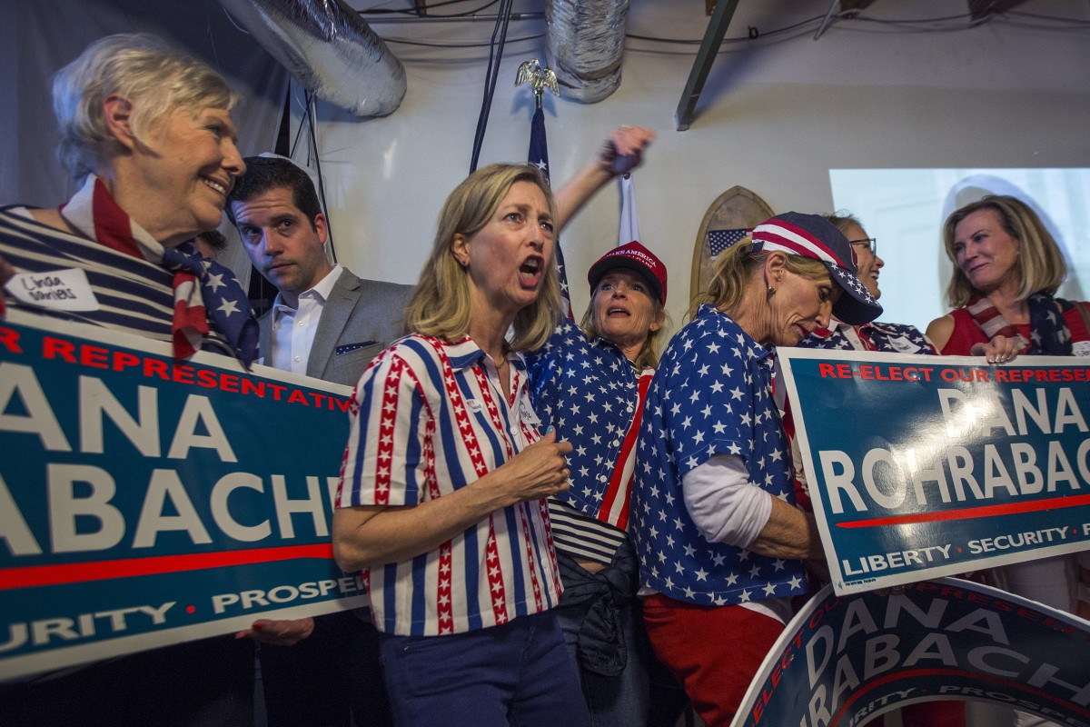 Supporters attend Dana Rohrabacher's primary election night party at his campaign headquarters on June 5th, 2018, in Costa Mesa, California.