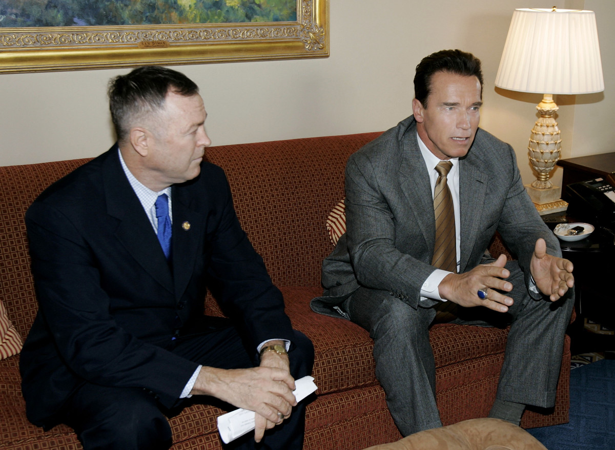Arnold Schwarzenegger and Dana Rohrabacher meet with members of Congress on February 17th, 2005, in Washington, D.C.