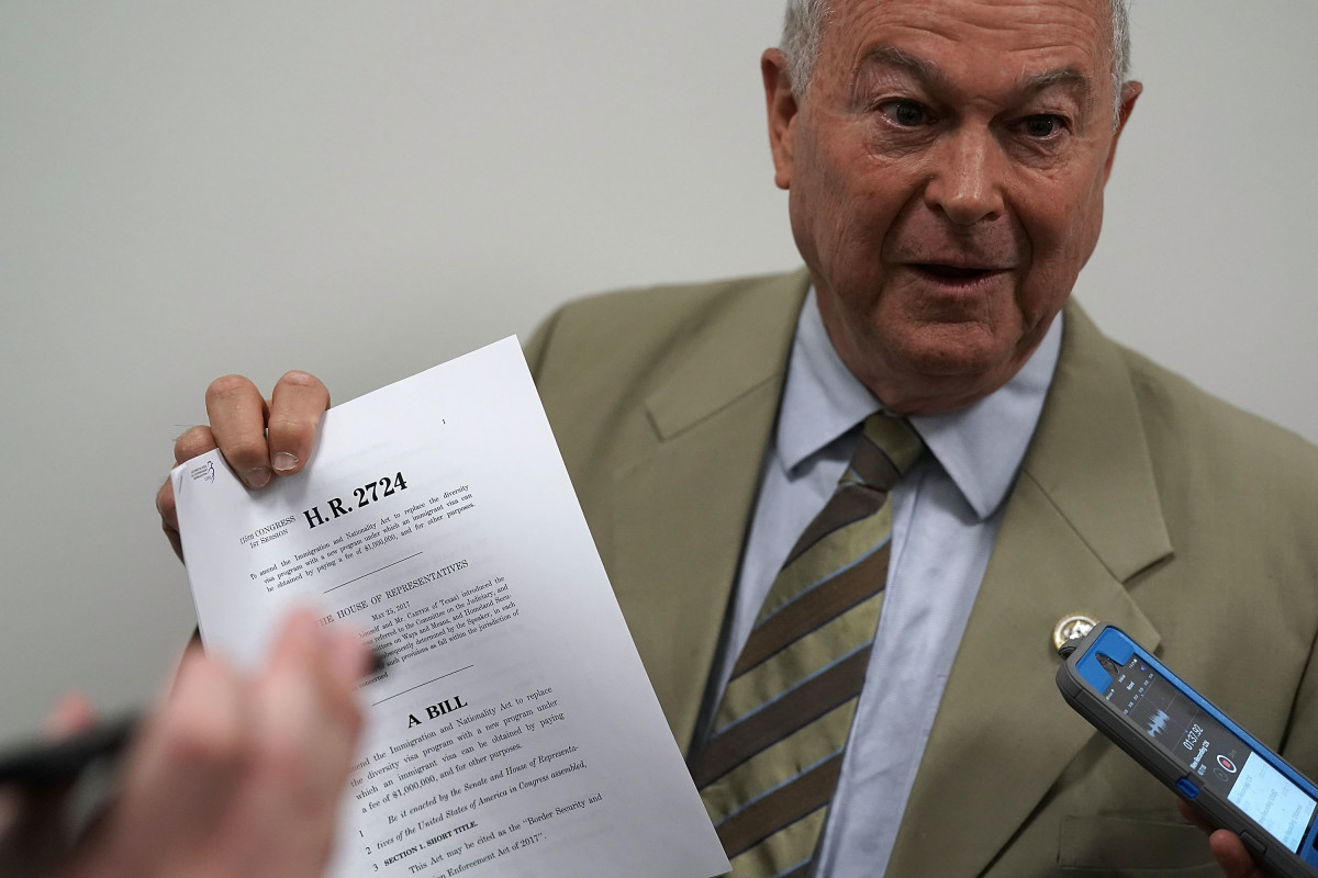 Dana Rohrabacher speaks to members of the media as he leaves a Republican conference meeting on June 7th, 2018, in Washington, D.C.