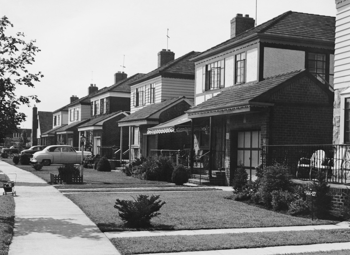 A row of houses, circa 1950.
