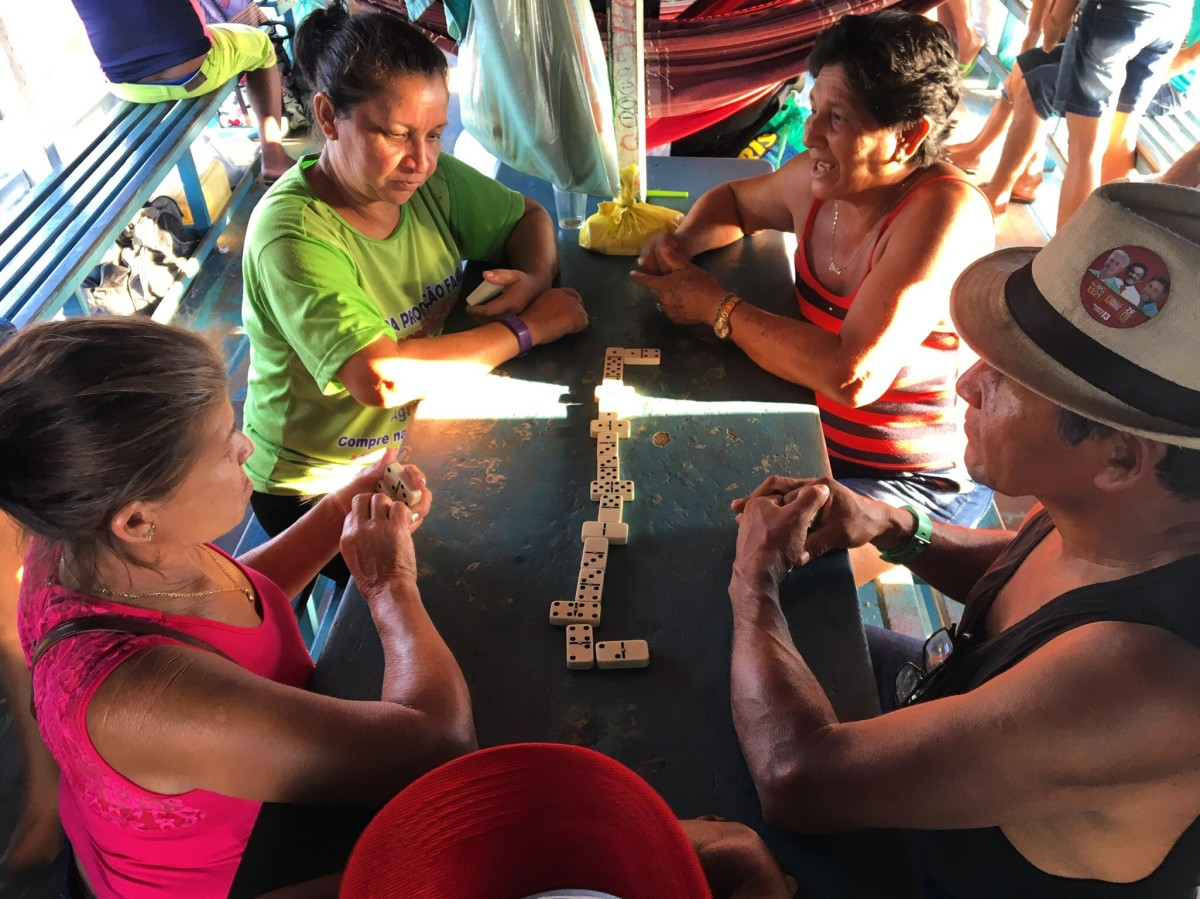 Dominoes is the most popular pastime aboard the Michael.