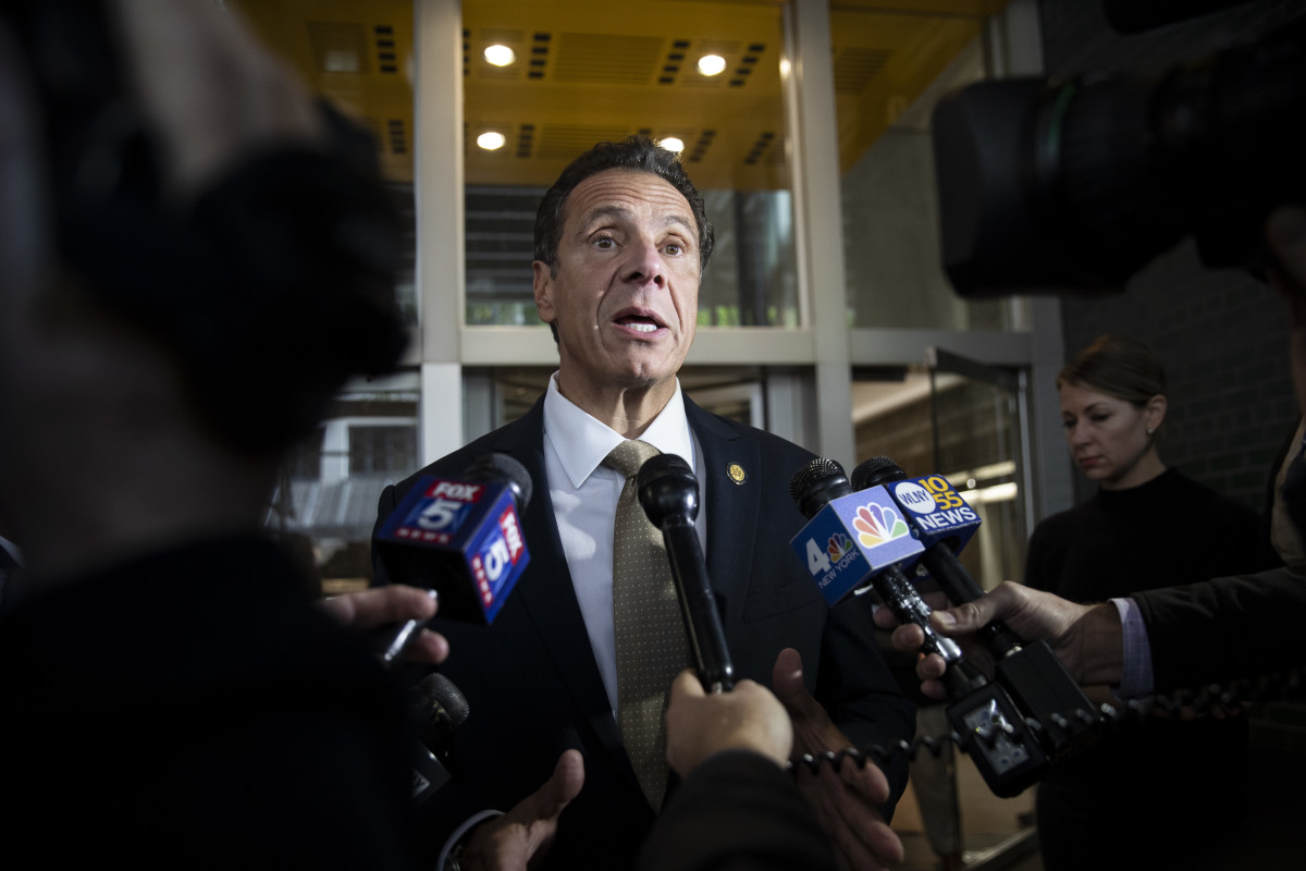 New York Governor Andrew Cuomo speaks to reporters outside his office in Midtown Manhattan, on October 24th, 2018.