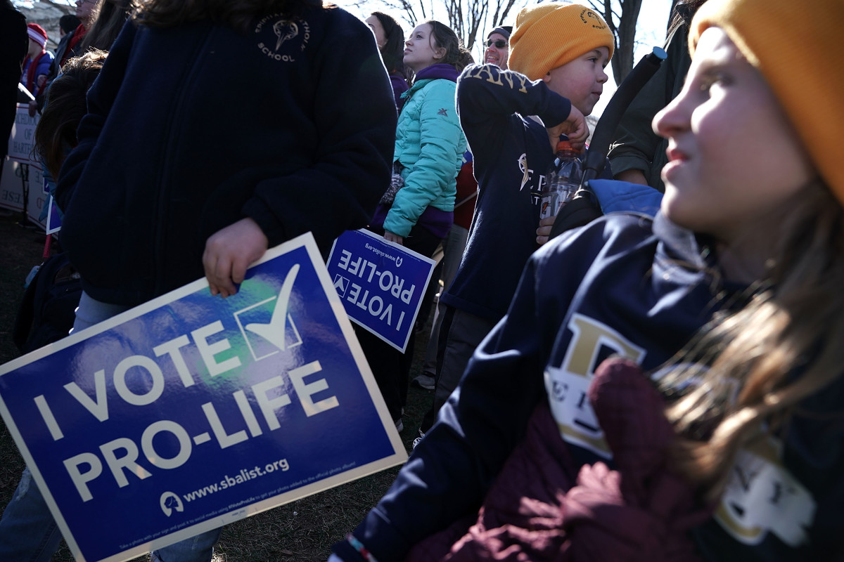 Pro-life activists participate in a rally at the National Mall prior to the 2018 March for Life on January 19th, 2018, in Washington, D.C.