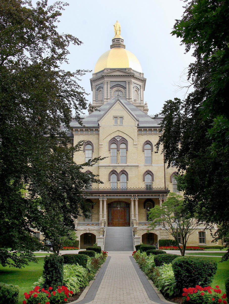 The Golden Dome atop the main building on the campus of the University of Notre Dame in Notre Dame, Indiana.