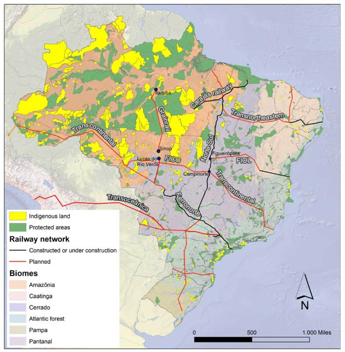 A map of major proposed and existing Brazilian railways, protected areas, indigenous lands, and biomes.