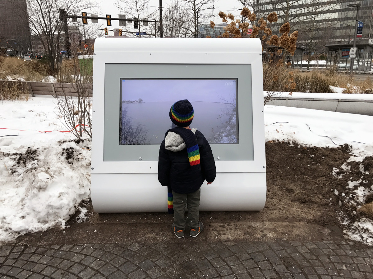 "The video kiosk in Cleveland's Public Square was part of Julia Christensen's project ""Waiting for a Break."""