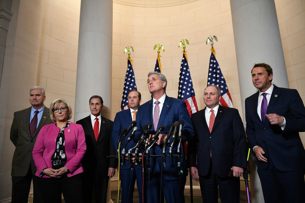 Representative Kevin McCarthy (R-California) speaks following the House Republican leadership vote at the Longworth House Office Building on Capitol Hill in Washington, D.C., on November 14th, 2018. Republicans in the House of Representatives elected McCarthy to lead the Republican lawmakers in the House as the new minority leader in a Republican-only vote on Wednesday.