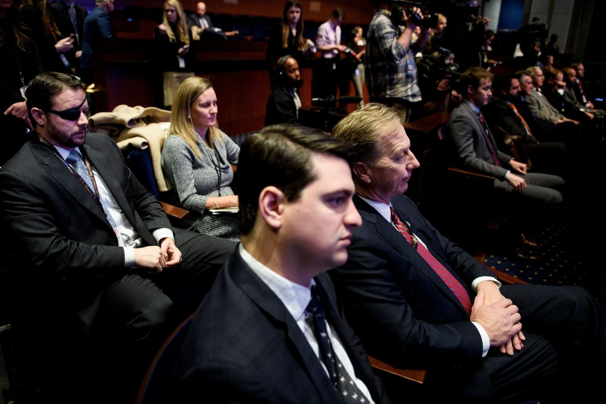 Incoming Representative Dan Crenshaw (R-Texas) and others attend a House of Representatives member-elect welcome briefing on Capitol Hill on November 15th, 2018, in Washington, D.C.