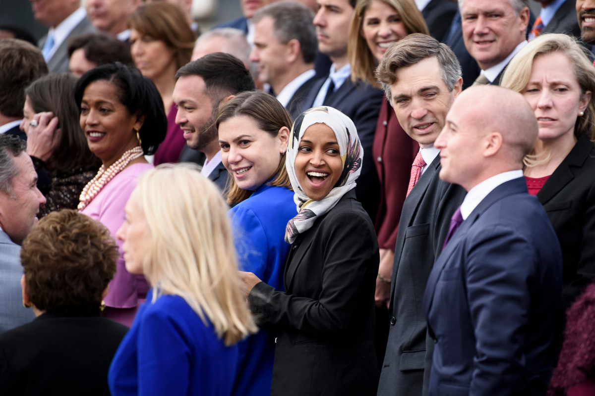 Incoming Representative Ilhan Omar (D-Minnesota) and other freshman members of the 116th Congress pose for a group photo on Capitol Hill on November 14th, 2018, in Washington, D.C.