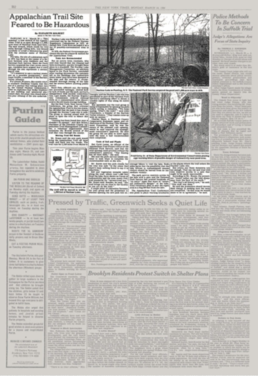 The New York Times on March 24th, 1986: Appalachian Trail Site Feared to Be Hazardous.