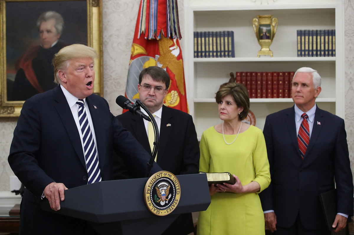 President Donald Trump speaks during a swearing-in ceremony for Robert Wilkie (R), to become secretary of the Department of Veterans Affairs.