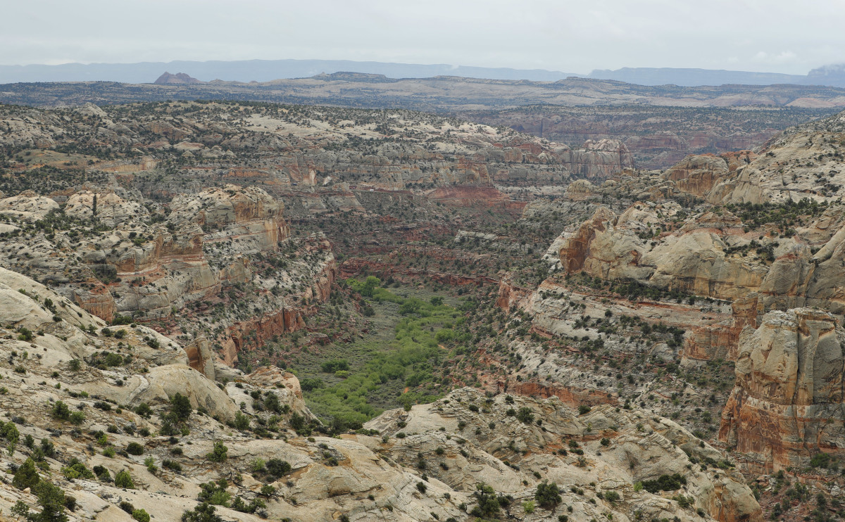 Sandstone formations are shown here in the Grand Staircase-Escalante National Monument on May 10th, 2017, outside Boulder, Utah. After close consultation with conservative ideological groups, Ryan Zinke's Department of the Interior drastically reduced the size of Grand Staircase-Escalante.