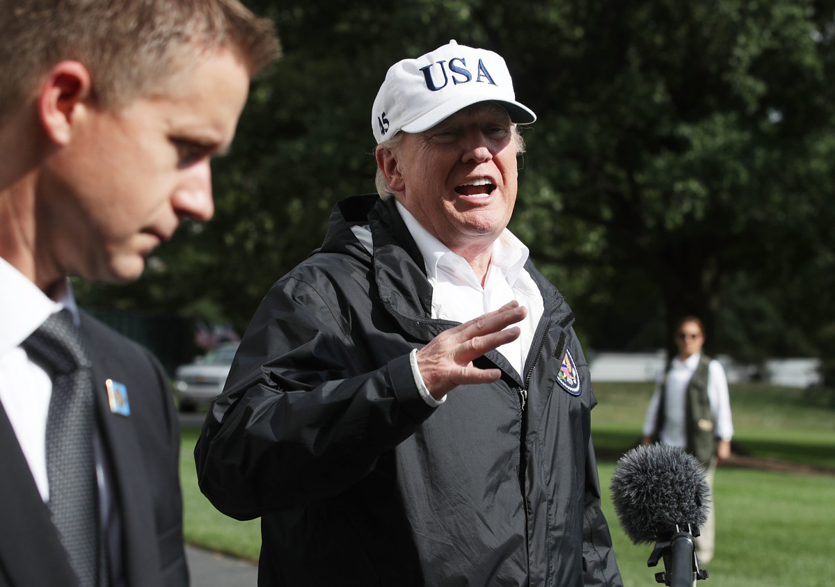 President Donald Trump speaks to members of the media after he returned to the White House from Florida on September 14th, 2017.