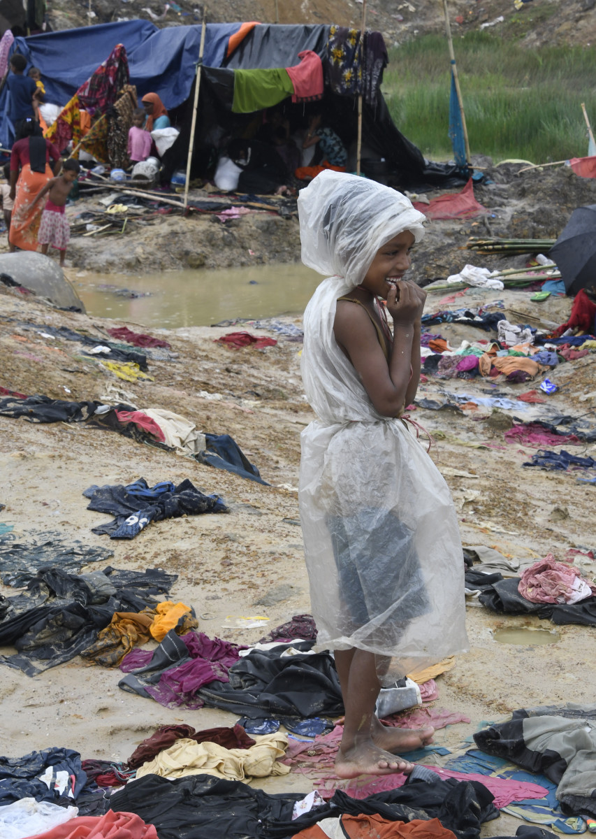 A Rohingya Muslim refugee near the Bangladesh town of Gumdhum on September 17th, 2017. Heavy monsoon rain heaped new misery on hundreds of thousands of Muslim Rohinyga stuck in makeshift camps in Bangladesh after fleeing violence in Myanmar, as authorities started a drive to force them to a new site.
