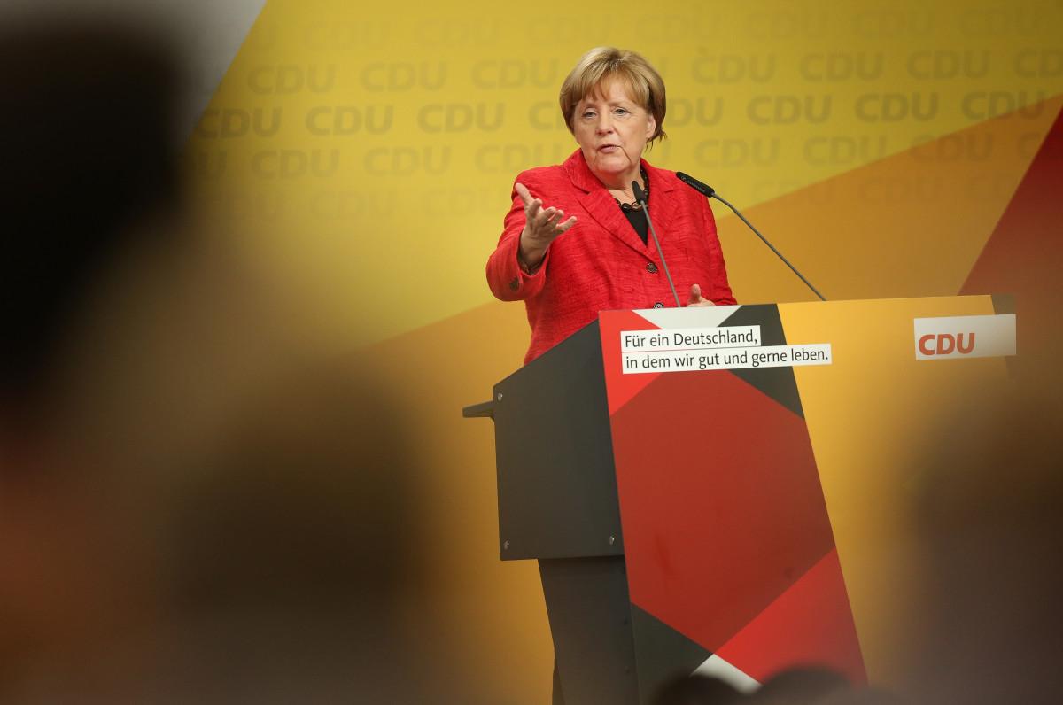 Angela Merkel speaks on September 19th, 2017, in Schwerin, Germany.