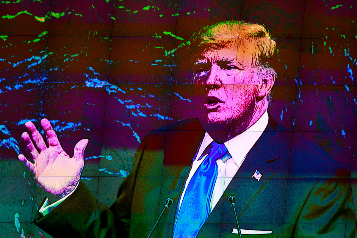 President Donald Trump is displayed on a monitor as he addresses the United Nations General Assembly on September 19th, 2017, in New York City.