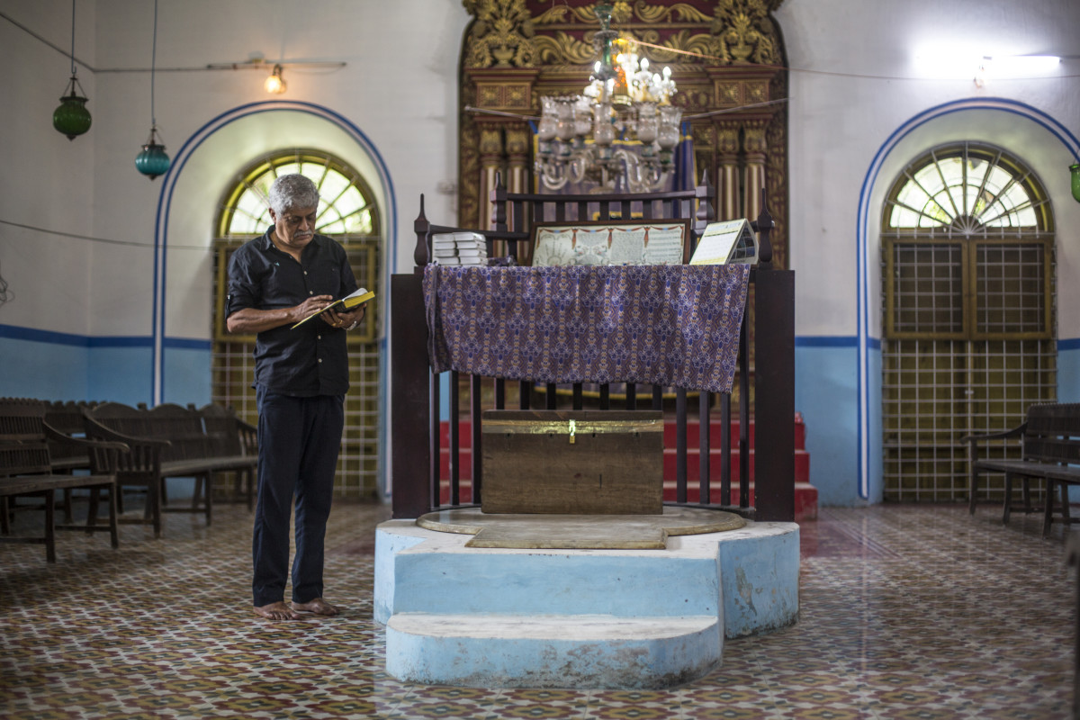 "Josephai ""Babu"" Elias, in Kadavumbhagam Synagogue's prayer hall."