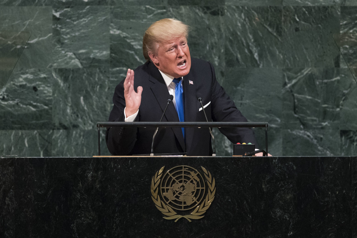 President Donald Trump addresses the United Nations General Assembly on September 19th, 2017, in New York City.