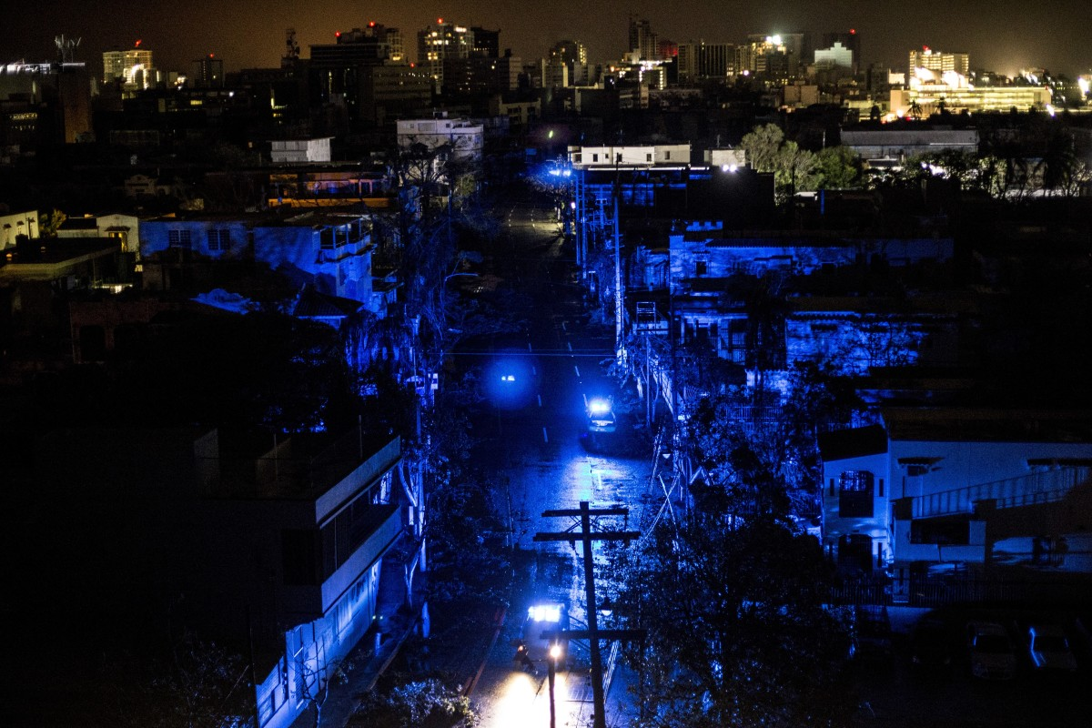 San Juan goes dark during a blackout after Hurricane Maria made landfall on September 20th, 2017.