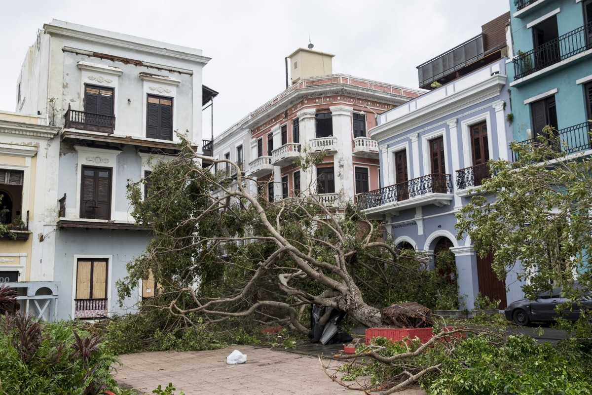 Debris clutters Plaza de Colon in San Juan, Puerto Rico, on September 21st, 2017.