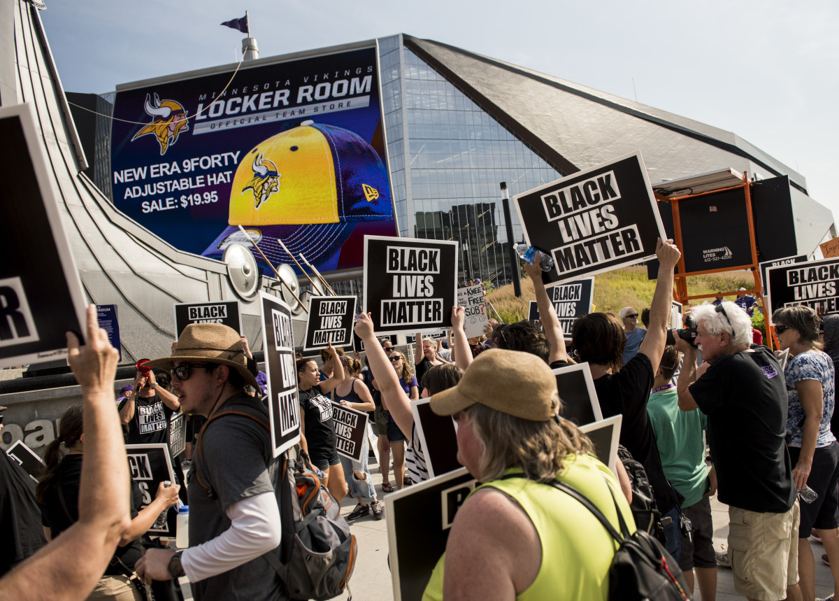 Black Lives Matter protesters rally outside the Minnesota Vikings game on September 24th, 2017, at U.S. Bank Stadium in Minneapolis, Minnesota.