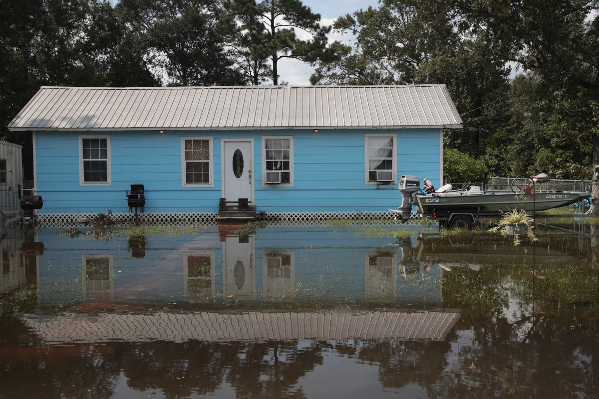 Floodwater surrounds a home after torrential rains pounded Southeast Texas following Hurricane and Tropical Storm Harvey causing widespread flooding on September 3rd, 2017, in Orange, Texas. Harvey, which made landfall north of Corpus Christi August 25th, has dumped nearly 50 inches of rain in and around Houston.